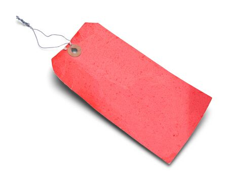 Large Red Old Tag Isolated on White Background.