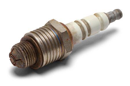 Old Used Spark Plug Isolated on White Background.