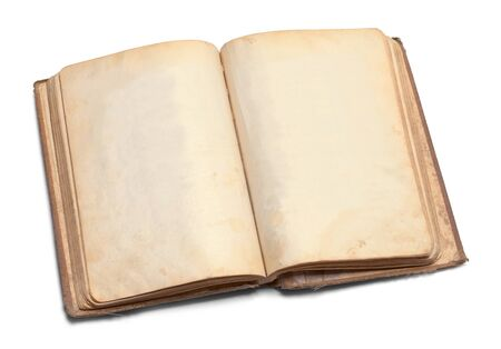 Open Worn Book with Copy Space Isolated on a White Background.
