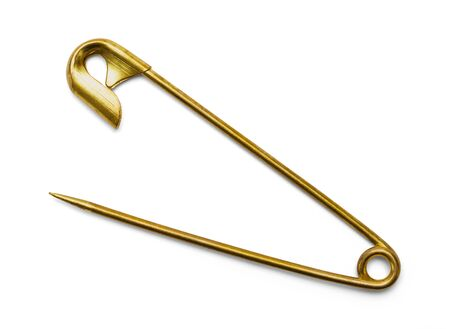 Brass Open Safety Pin Isolated on a White Background.