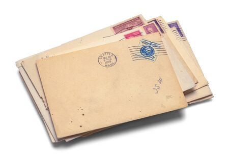 Pile of Old Mail Isolated on a White Background.