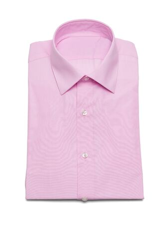 ピンクの襟ボタンを白い背景で隔離のドレスシャツ。