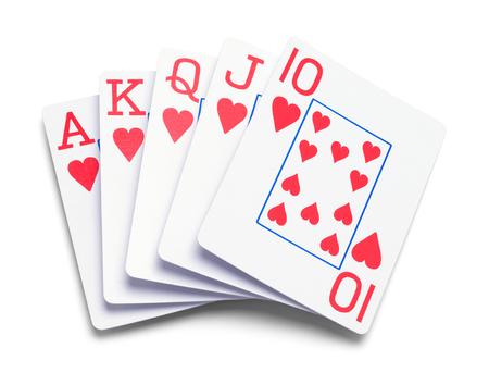 흰색 배경에 고립 된 카드의 포커 손입니다.