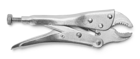 Vise Grips Locking Pliers Isolated on a White Background.