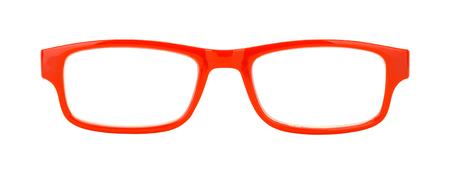 쌍의 빨간색 안경 전면보기 화이트 잘라.