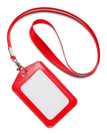 Red Leather Lanyard Isolated on White Background. Stock Photo