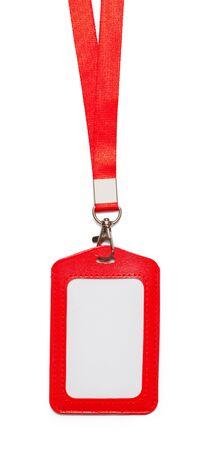 赤い革ストラップは、白い背景で隔離。 写真素材