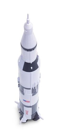 Space Rocket  Model Isolated on a White Background. Stock Photo