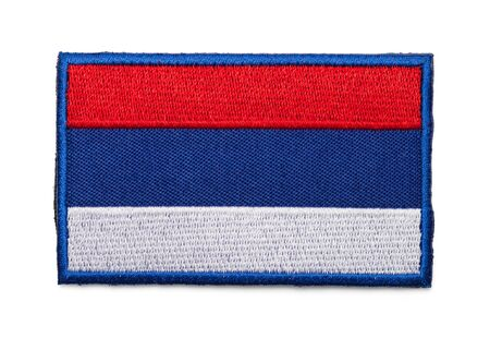 Russian Flag Patch Isolated on a White Background. Фото со стока