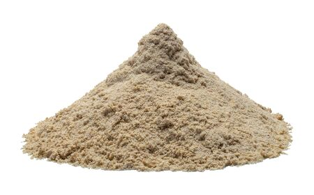 Pile of Wet Sand Isolated on White Background.