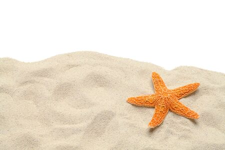 ビーチの砂とコピー領域とヒトデは白地をカットしました。 写真素材
