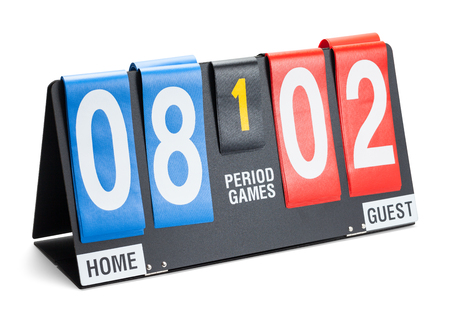 Small Sports Score Board Isolated on a White Background. Stock Photo