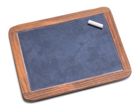 학교 슬레이트 분필 보드 분필 흰색 배경에 고립. 스톡 콘텐츠