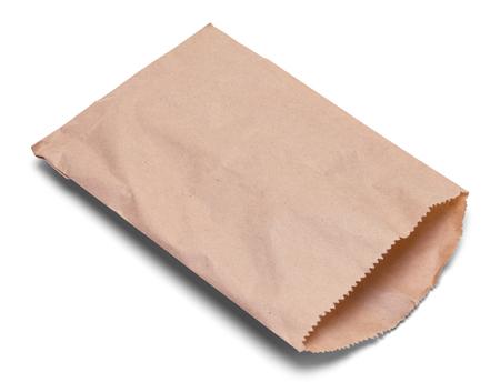 갈색 종이 스낵 백 흰색 배경에 고립. 스톡 콘텐츠