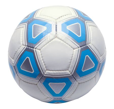 Single Blue Soccer Ball Isolated on White Background. Фото со стока
