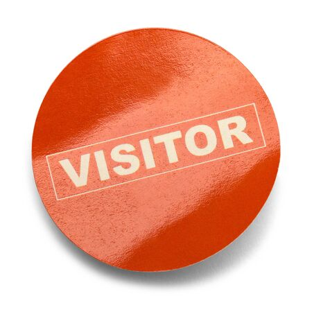 Round Red Visitor Sticker Isolated on White Background. Stock Photo