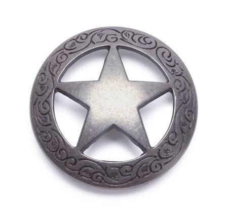 Circle Metal Concho Isolated on a White Background. Фото со стока