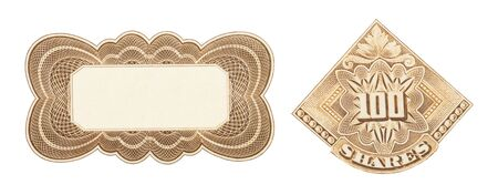 Stock Certificate Design Elements Cut Out on White. 写真素材