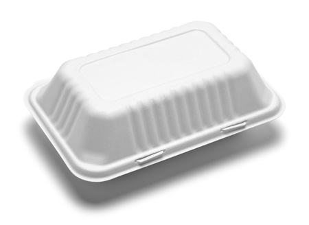 White Carboard Take Out Food Box Isolated on a White Background.