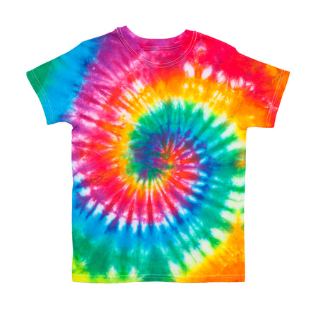 Spiral Tie Dye Shirt Isolated on White Background.