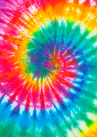 Tie Dye Rainbow Spiral Pattern Close Up.