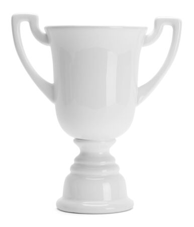 Ceramic White Trophy Cup Isolated on White Background.