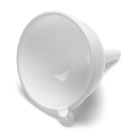 White Plastic Kitchen Funnel Isolated on White Background. 写真素材