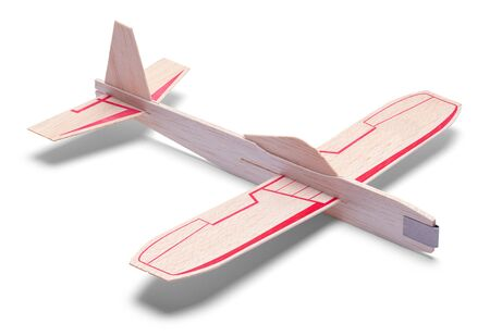 Kids Toy Airplane Isolated on a White Background. Stock Photo