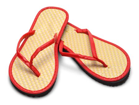Pair of woven Flip Flops Isolated on a White Background.