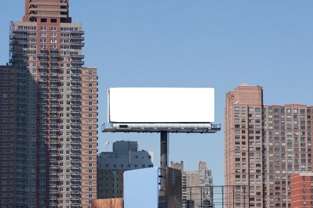 blank billboard: White big Billboard in city  Two red bricks high buildings