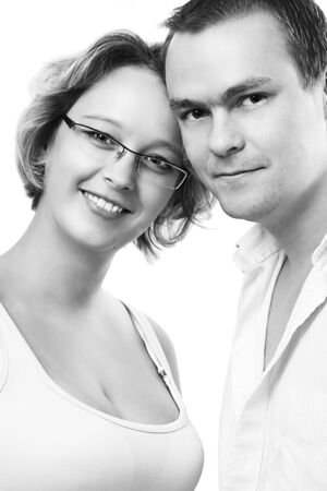 happy girl and boy in black and white photo