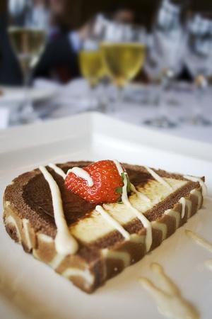 tasty dessert with fresh strawberries and white chocolate cream Stock Photo - 8671043