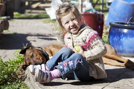 little girl with her best friend - dog Stock Photo - 9008988