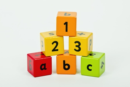 wooden blocks with letters and numbers stacked up