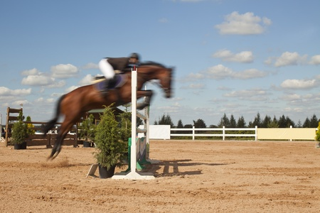hurdle: blurred horse jumping high over the hurdle Stock Photo
