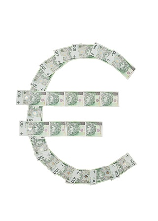 euro money symbol made of polish notes photo