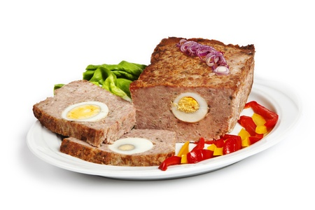 MEAT LOAF: tradditional meat loaf with egg on the plate