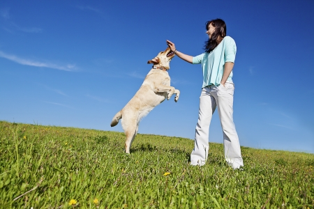 a young woman training her dog to jump up photo
