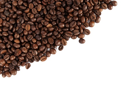 stimulated: lots of coffee beans on the white background