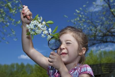 bambina con la lente di ingrandimento checking fiori Archivio Fotografico