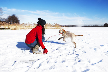 woman and  dog in winter scene photo