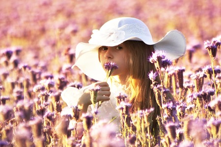 happy little  girl in a white dress smelling a flower tansy phacelia on a summer evening photo