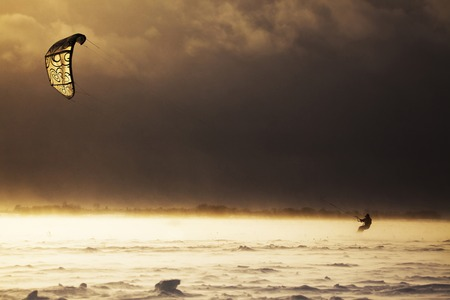 snowkiting: Snowkiting in extreme winter conditions during a snowstorm