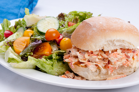 chicken salad: apple chicken salad sandwich with a side salad
