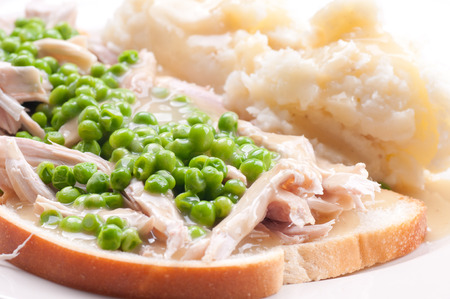 diner: diner style open faced hot chicken sandwich with mashed potatoes Stock Photo