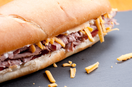 hoagie: beef and cheddar sandwich with hand cut french fries