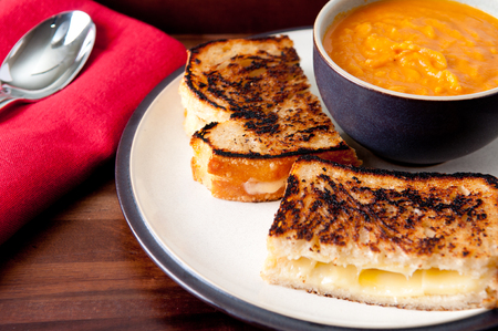 grilled cheese sandwich with chickpea and tomato soup