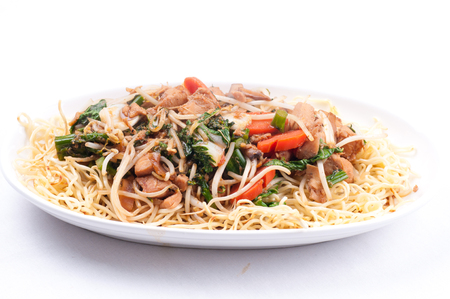 chow: healthy home made chicken chow mein or chow mien with crispy noodles