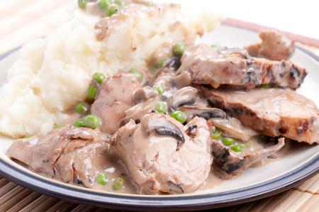 pork tenderloin: pork tenderloin with mashed potatoes and mushroom gravy