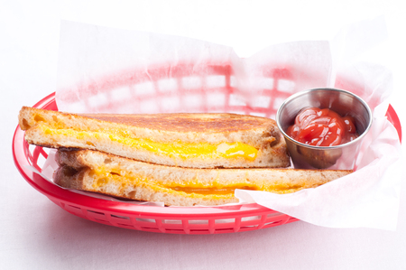 grilled cheese sandwich on sourdough bread sliced